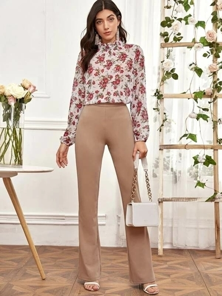 Picture of Floral Mock Neck Frill Blouse
