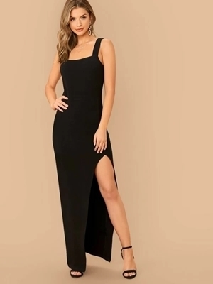 Picture of Thick Strap Split Thigh Long Bodycon Dress