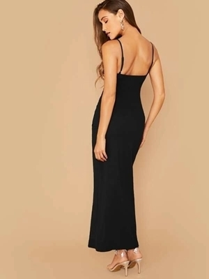 Picture of Asymmetrical Wrap Ruched Side Thigh Slip Long Formal Dress