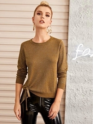 Picture of Glitter Knot Hem Pullover Sweater