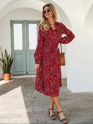 Picture of Leopard Print Long Sleeve Shirt Dress