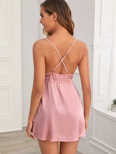Picture of Contrast Lace Criss Cross Satin Babydoll