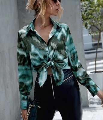 Tie Dye Button Up Shirt | Women Blouses Shirts