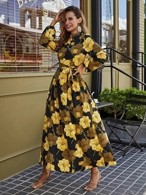 Floral Long Sleeve Dresses For Woman